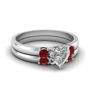 Heart 3 Stone Ruby Wedding Set