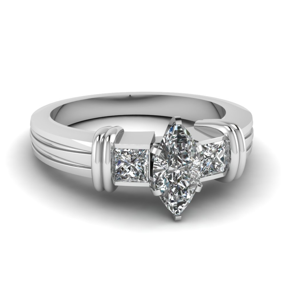 Bar 3 Stone Marquise Cut Engagement Ring In 14K White Gold