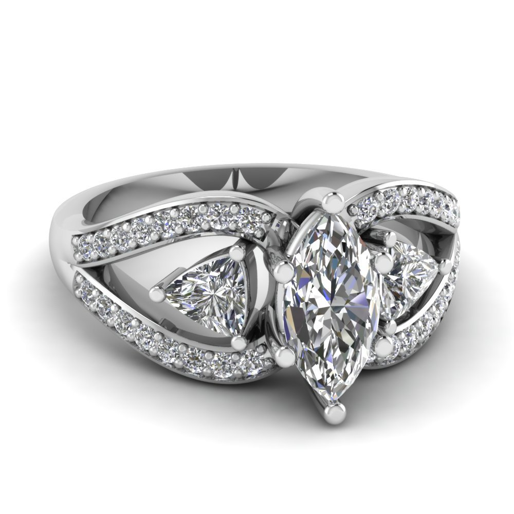 Trillion Butterfly Engagement Ring