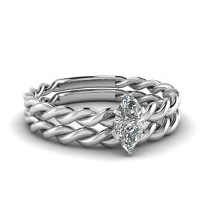 Twisted Rope Wedding Ring Set