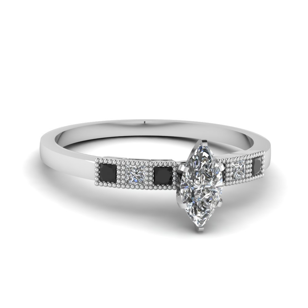 Milgrain Petite Marquise Engagement Ring With Black Diamond In 18K White Gold