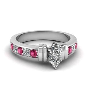Simple Bar Set Marquise Diamond Engagement Ring With Pink Sapphire In 14K White Gold