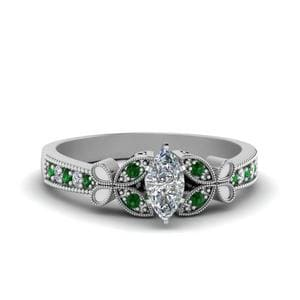 Vintage Butterfly Marquise Diamond Engagement Ring With Emerald In 18K White Gold