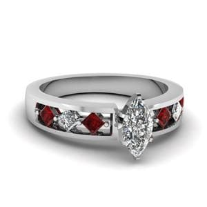 Kite Setting Marquise Cut Diamond Engagement Ring With Ruby In 18K White Gold