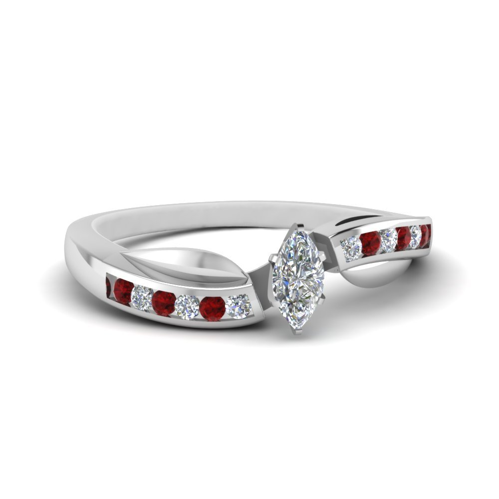 Petal Channel Set Marquise Diamond Engagement Ring With Ruby In 18K White Gold
