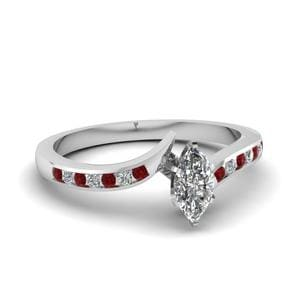 Twist Channel Marquise Diamond Engagement Ring With Ruby In 18K White Gold