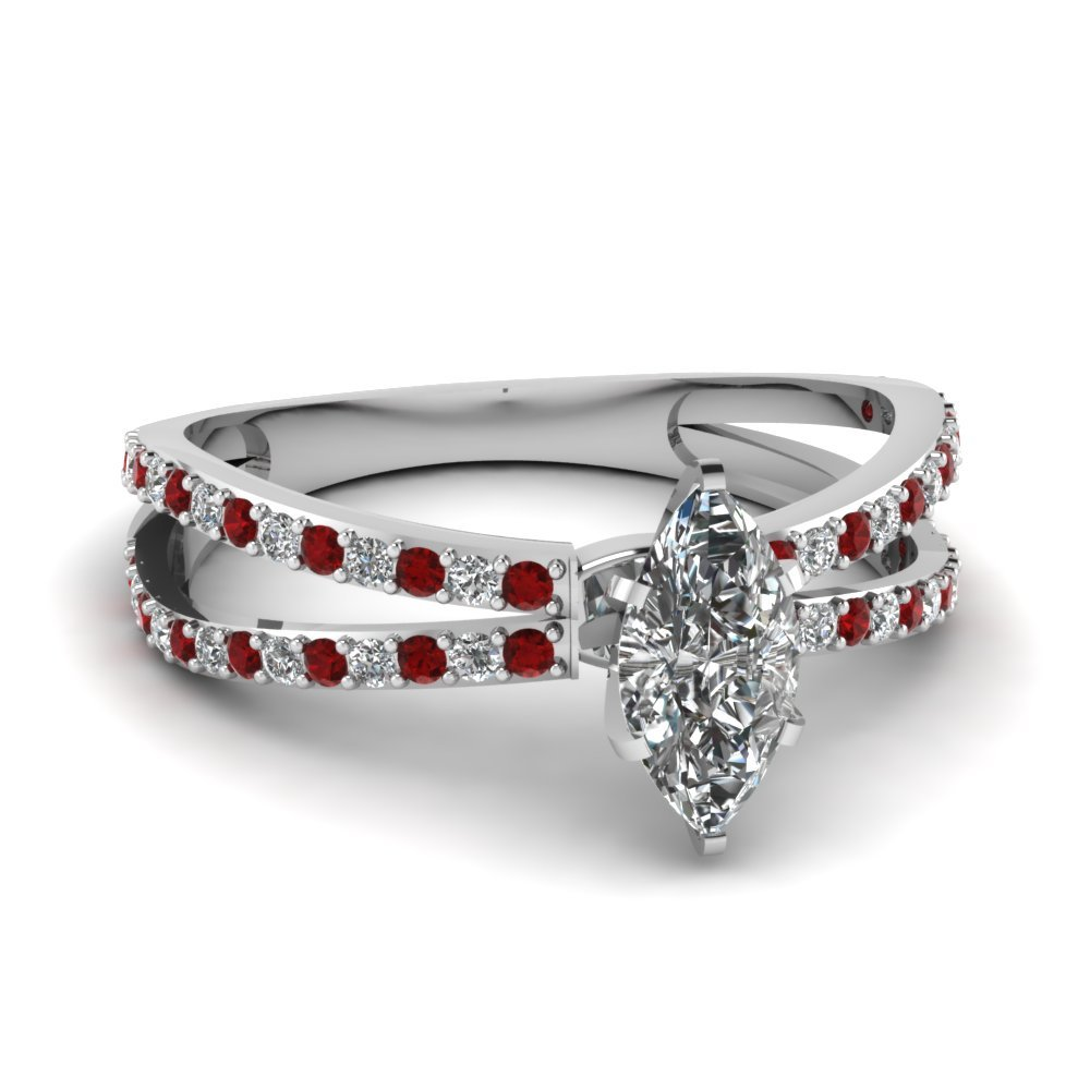 Reverse Split Shank Marquise Diamond Engagement Ring With Ruby In 18K White Gold