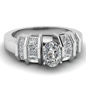 Platinum Oval Shaped Diamond Ring