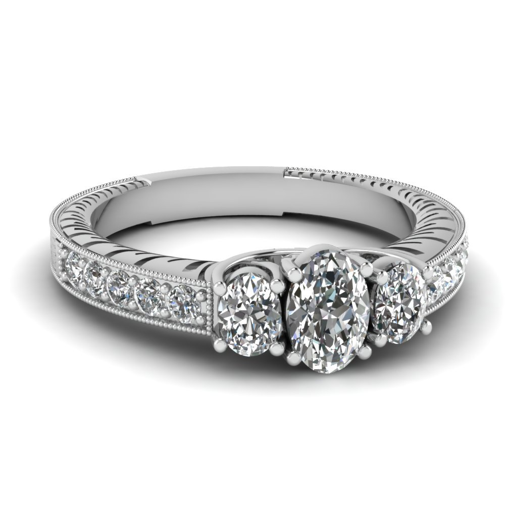 3 Stone Trellis Vintage Engagement Ring In 14K White Gold