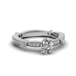 Pave Oval Shaped Ring