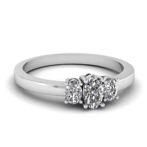 Delicate 3 Stone Diamond Engagement Ring In 14K White Gold