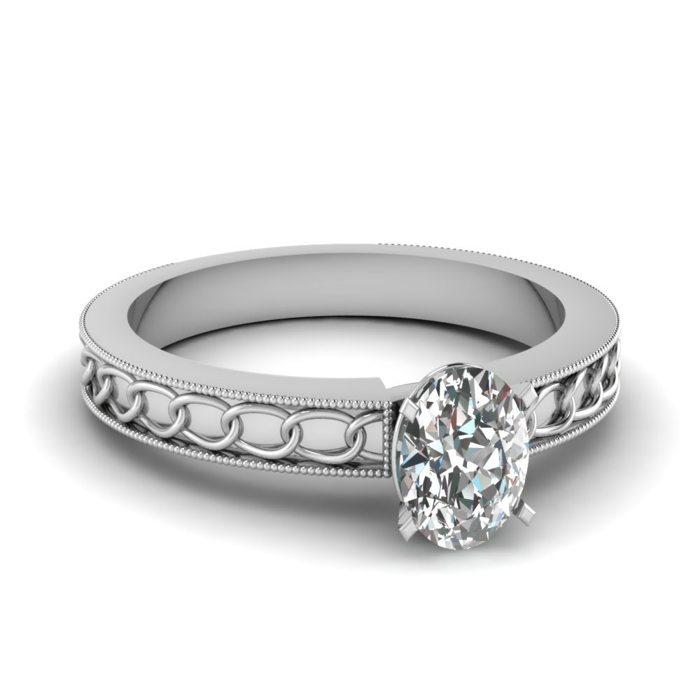 Interlocked Design Oval Solitaire Engagement Ring In 18K White Gold