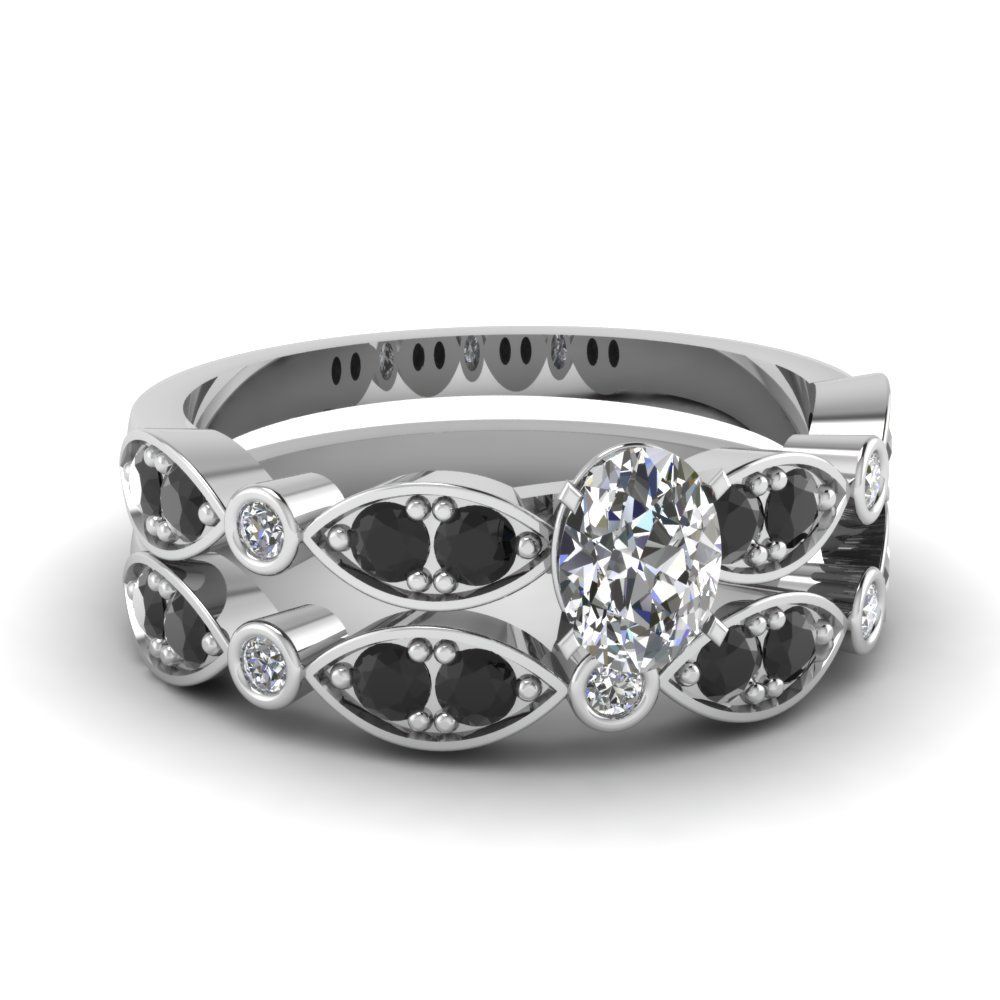 Art Deco Oval Wedding Ring Set With Black Diamond In 18K White Gold