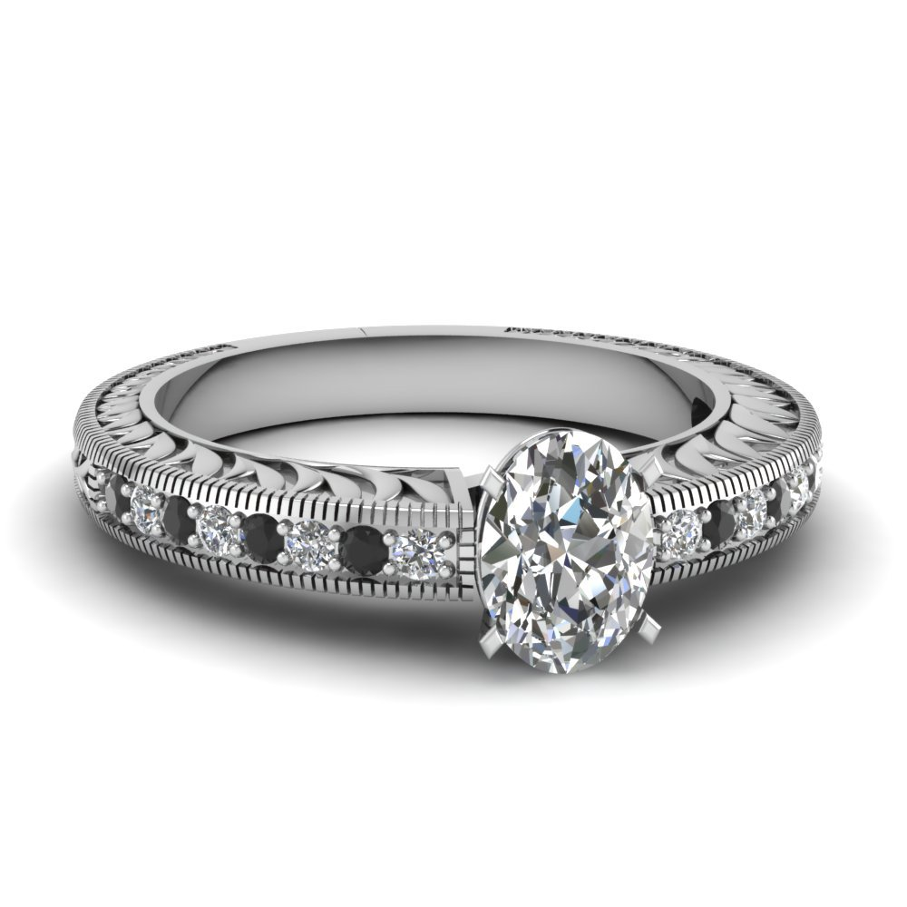 Hand Engraved Oval Shaped Vintage Engagement Ring With Black Diamond In 18K White Gold