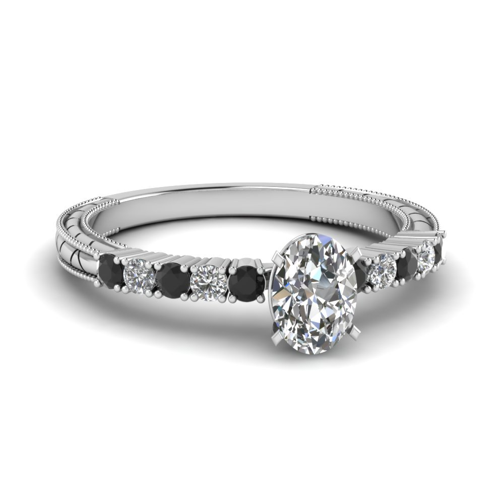 Petite Vintage Oval Engagement Ring With Black Diamond In 18K White Gold