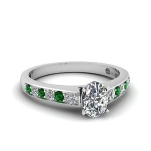 Petite Diamond Ring With Emerald