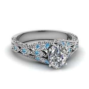 Blue Topaz Antique Filigree Diamond Ring