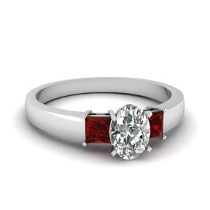 Oval Shaped Dainty Ruby Ring