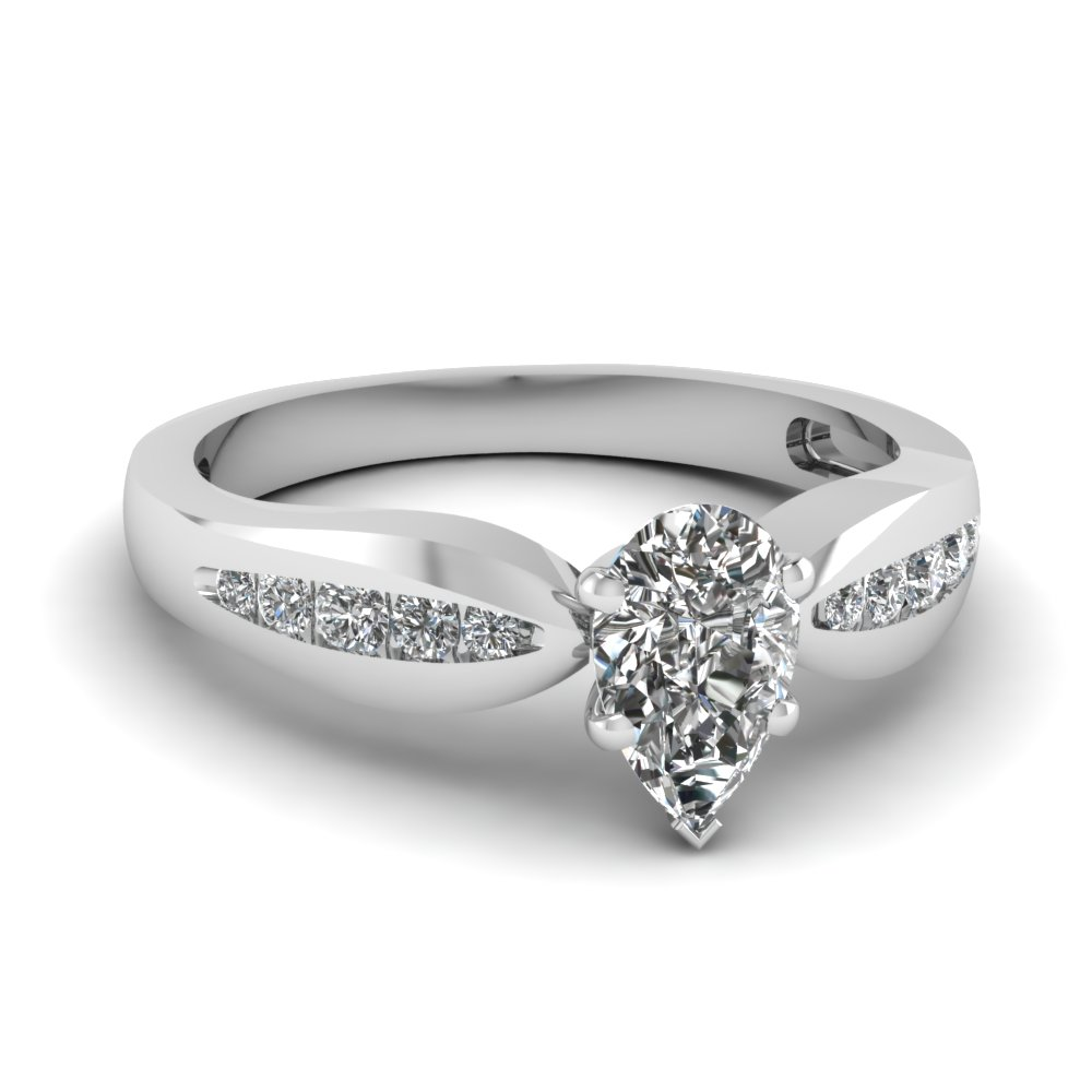White Gold Pear Diamond Ring