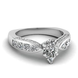 Tapered Pear Diamond Ring