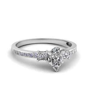 Delicate 3 Stone Pear Diamond Ring In 14K White Gold