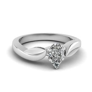 Leaf Pear Diamond Solitaire Ring