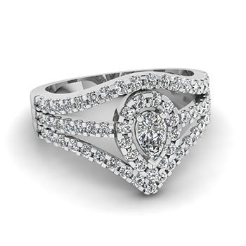1 Ct. Pear Shaped Diamond Engagement Rings