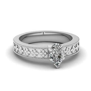 Floral Engraved Solitaire Ring