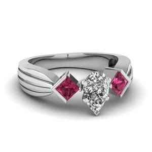 Half Bezel 3 Stone Pear Shaped Engagement Ring With Pink Sapphire In 14K White Gold