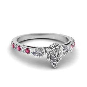 Delicate 3 Stone Pear Diamond Ring