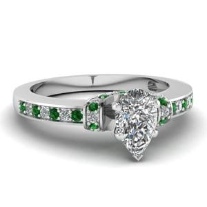 Pear Shaped Beautiful Pave Diamond Engagement Ring With Emerald In 14K White Gold