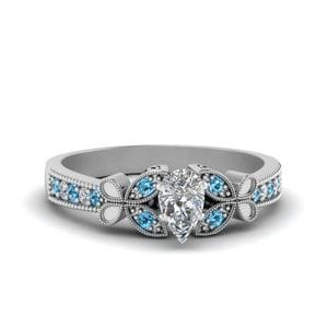 Vintage Butterfly Pear Diamond Engagement Ring With Blue Topaz In 18K White Gold