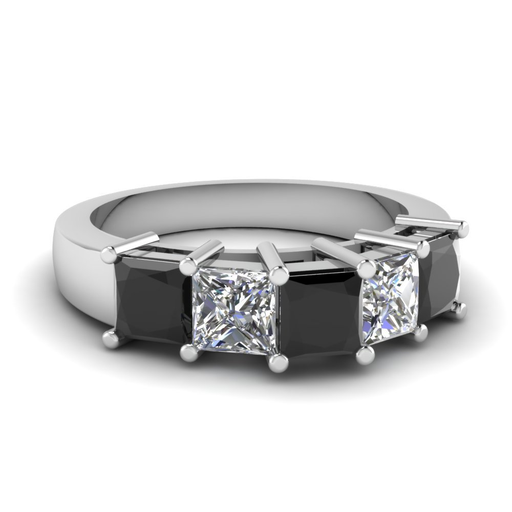 Princess Cut 5 Stone Wedding Anniversary Band With Black Diamond In 18K White Gold