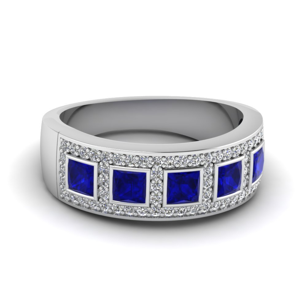 Princess cut Sapphire Wedding Bands
