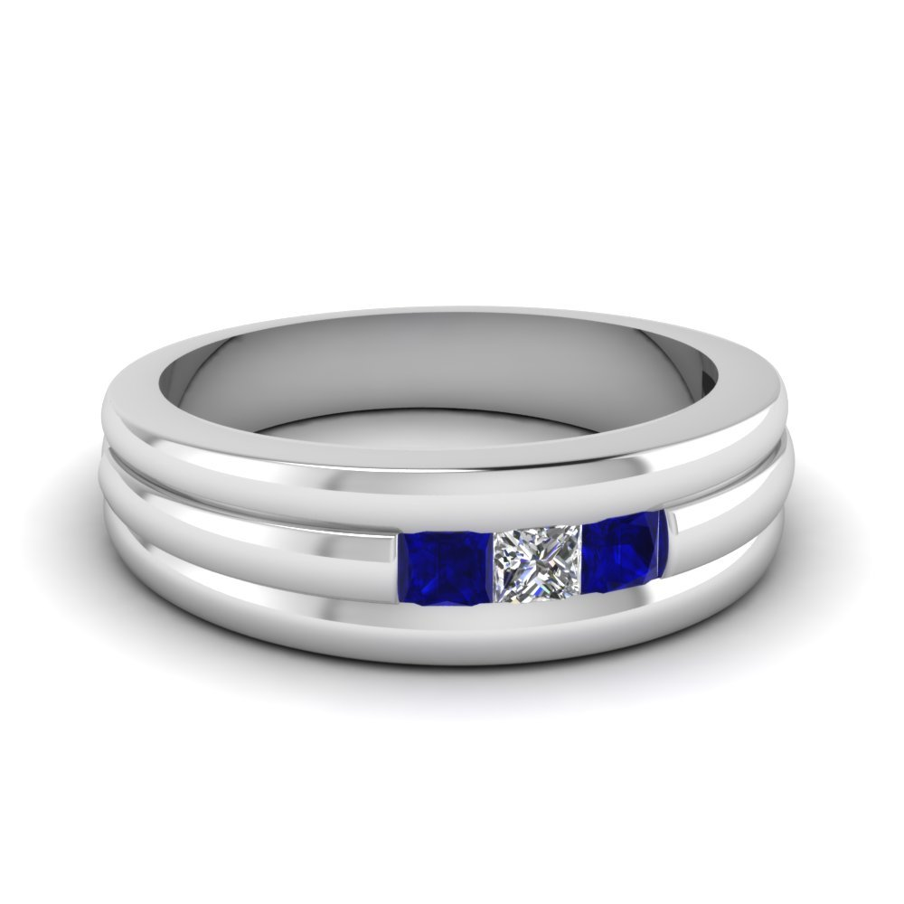 mens 3 stone sapphire band