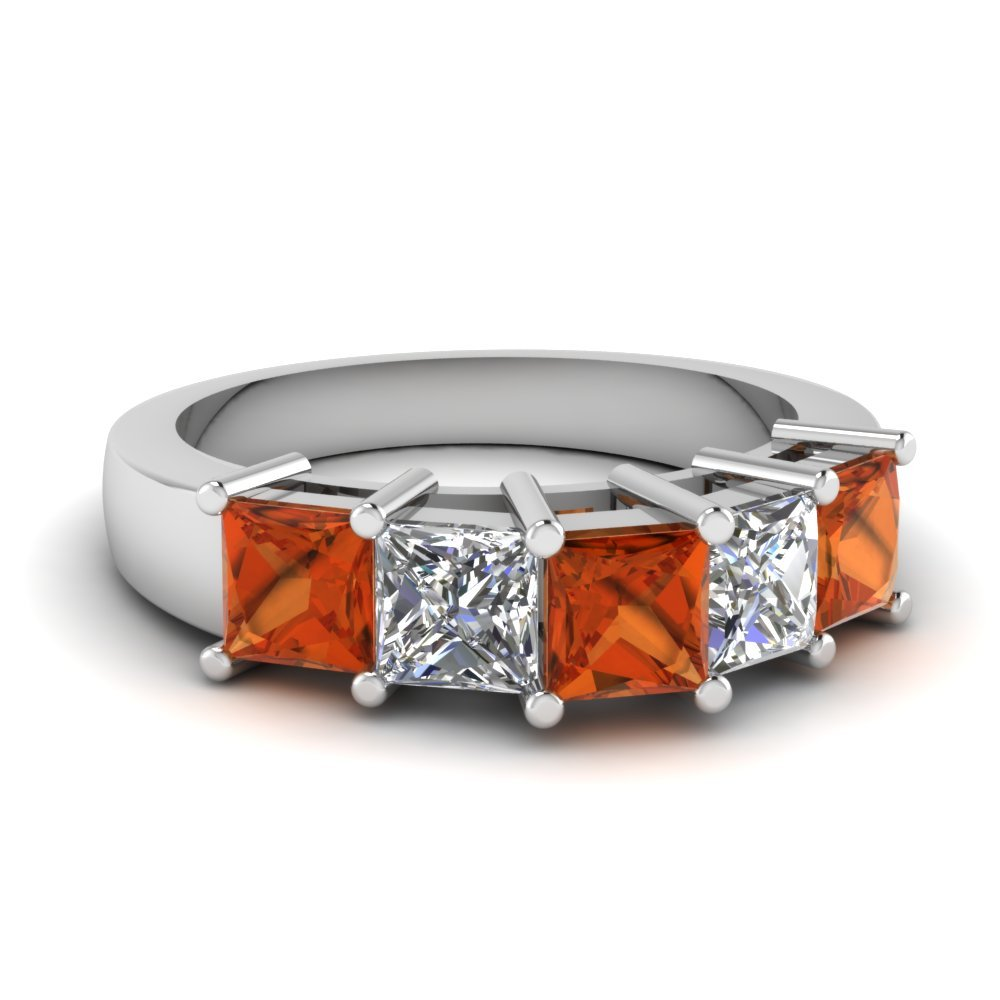 Princess Cut 5 Stone Wedding Anniversary Band With Orange Sapphire In 18K White Gold