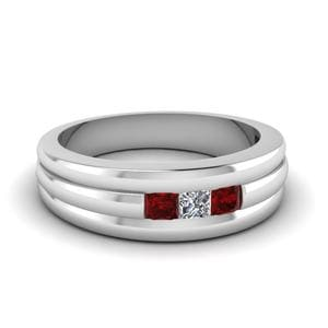 Mens 3 Stone Ruby Wedding Band