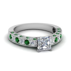 Milgrain Princess Cut Diamond Engagement Ring With Emerald In 14K White Gold