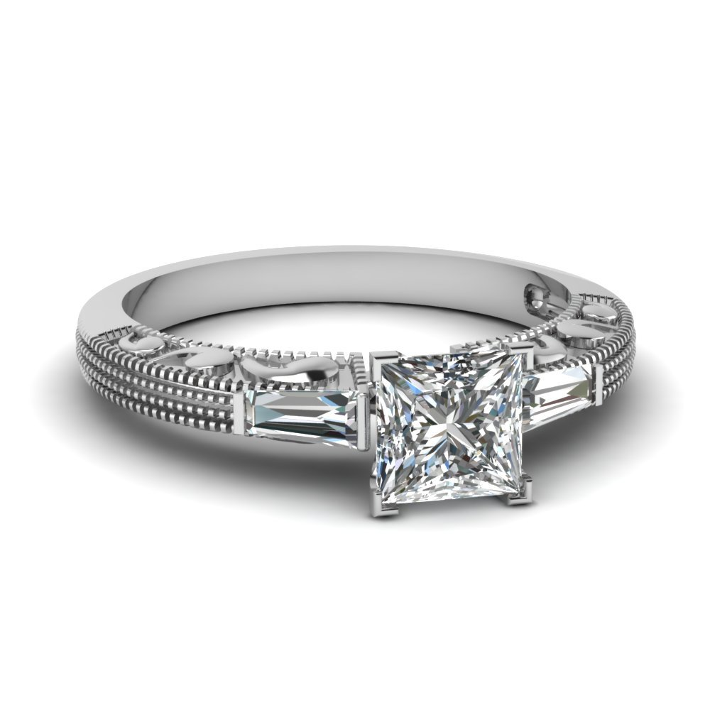 Antique Engraved 3 Stone Princess Cut Engagement Ring In 950 Platinum