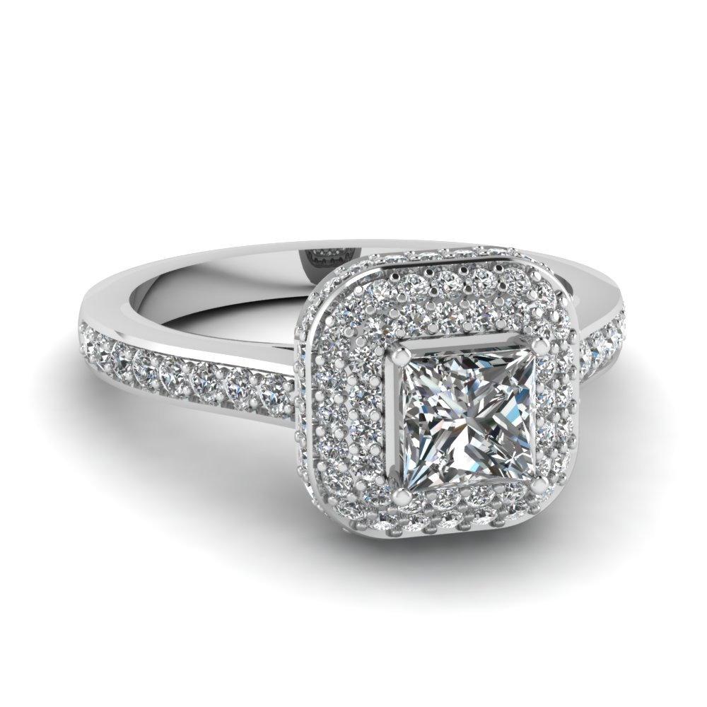 Halo Pave Crown Engagement Ring