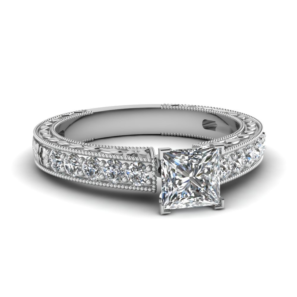 Vintage Engraved Princess Cut Diamond Engagement Ring In 14K White Gold