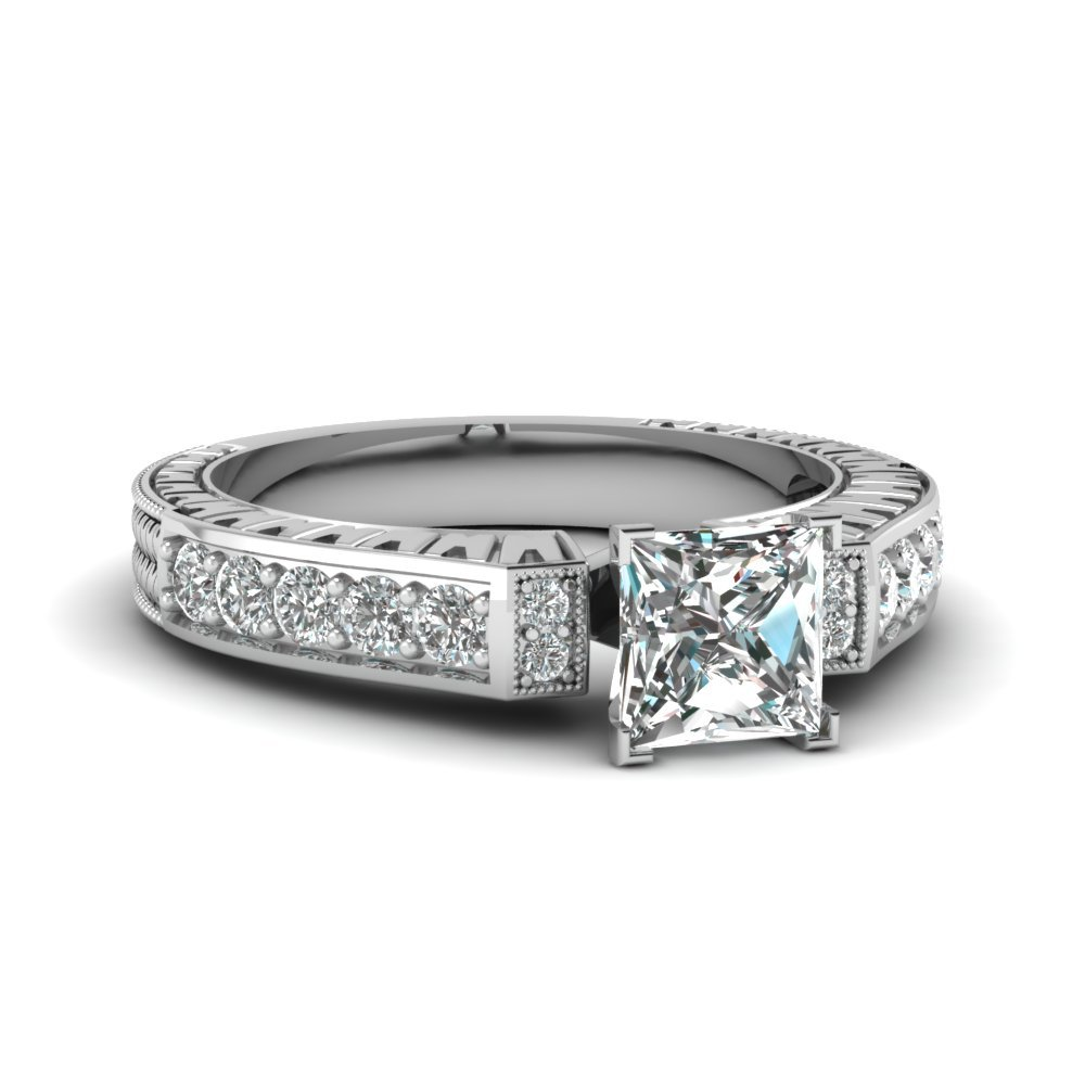 Vintage Pave Princess Cut Diamond Ring In 950 Platinum