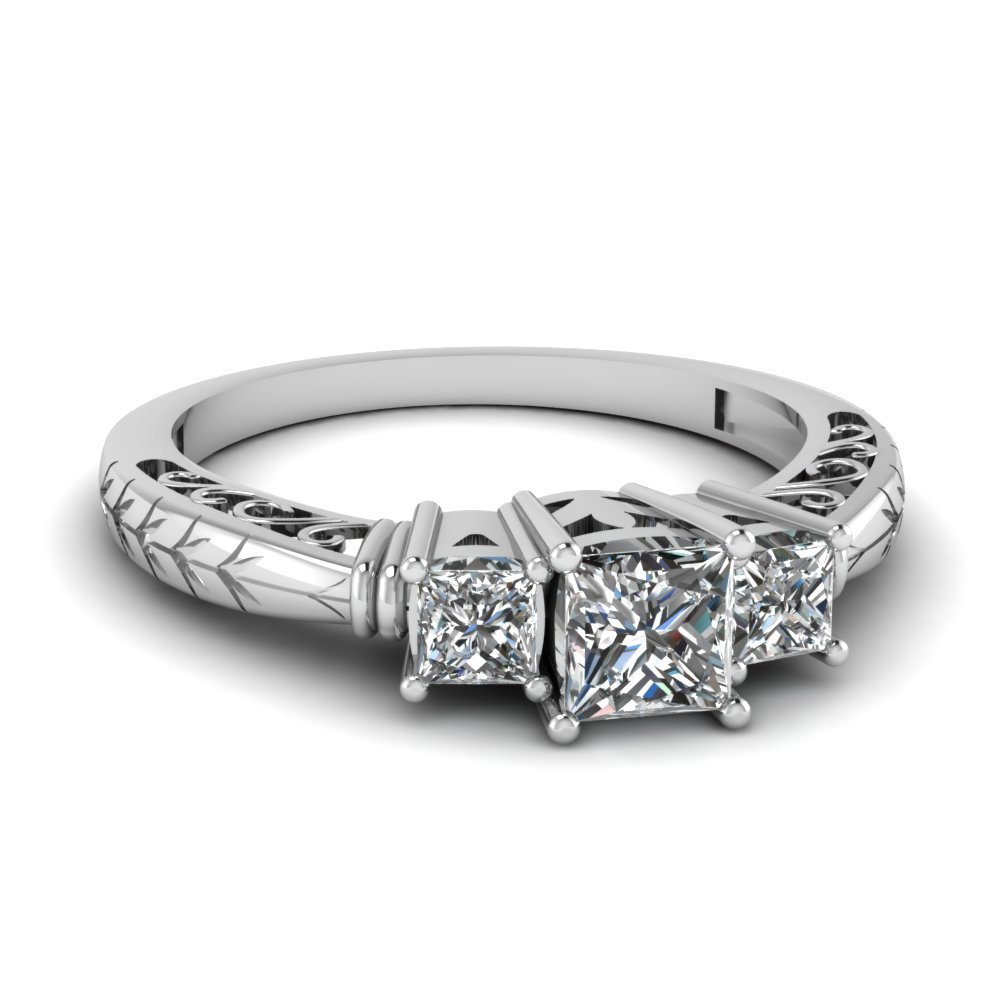 Vintage 3 Stone Diamond Engagement Ring In 14K White Gold