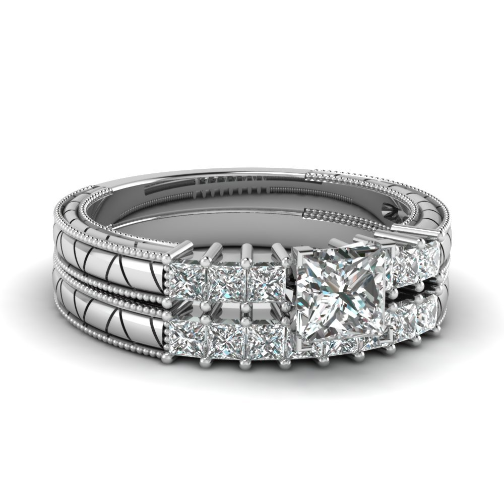 Princess Cut Petite Vintage Diamond Wedding Ring Set In 950 Platinum