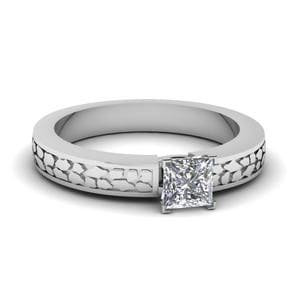 Princess Cut Carved Solitaire Engagement Ring In 950 Platinum