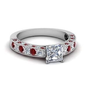 Milgrain Princess Cut Diamond Engagement Ring With Ruby In 14K White Gold