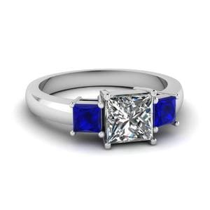 Princess Cut 3 Stone Ring With Sapphire In 14K White Gold
