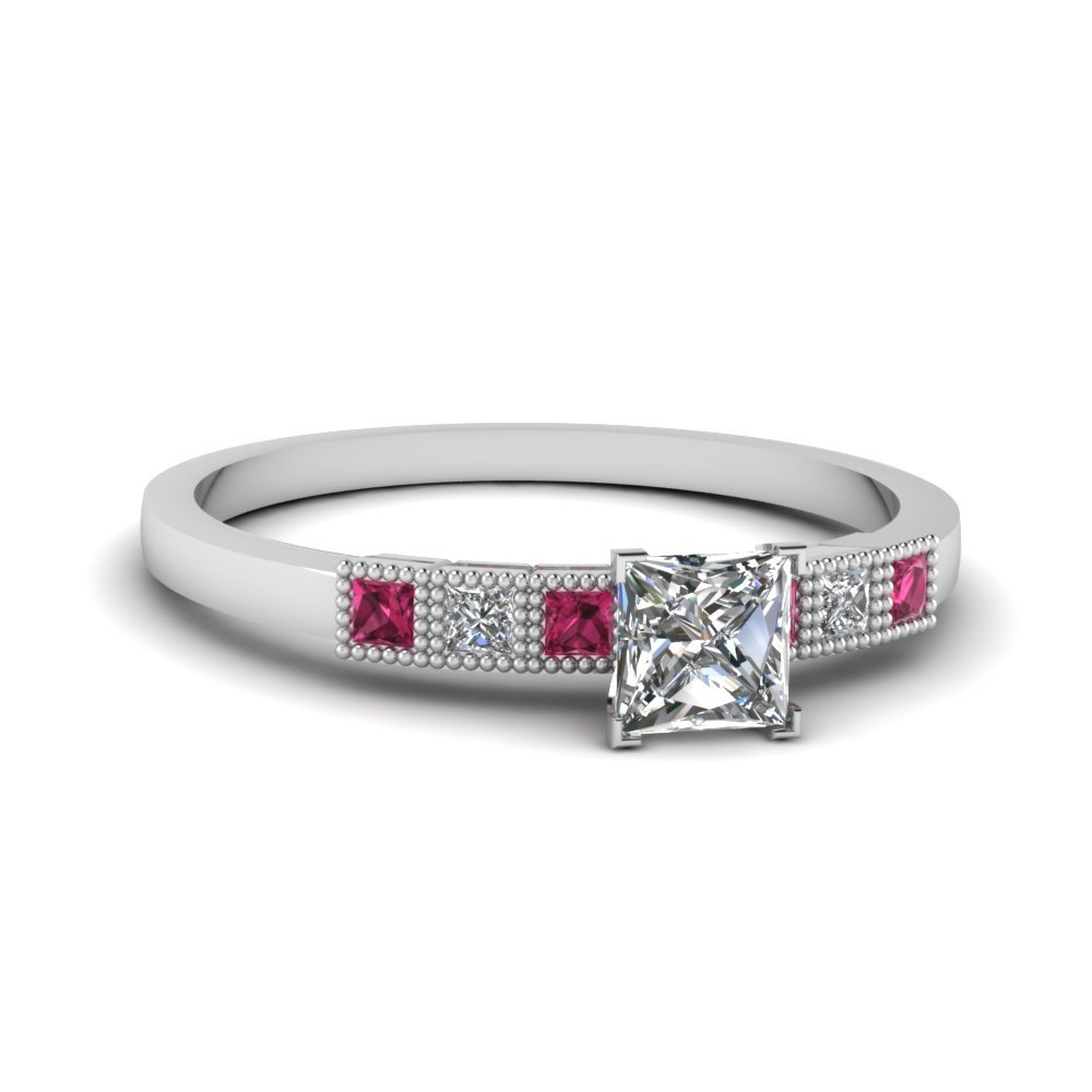 Milgrain Petite Princess Cut Diamond Engagement Ring With Pink Sapphire In 950 Platinum