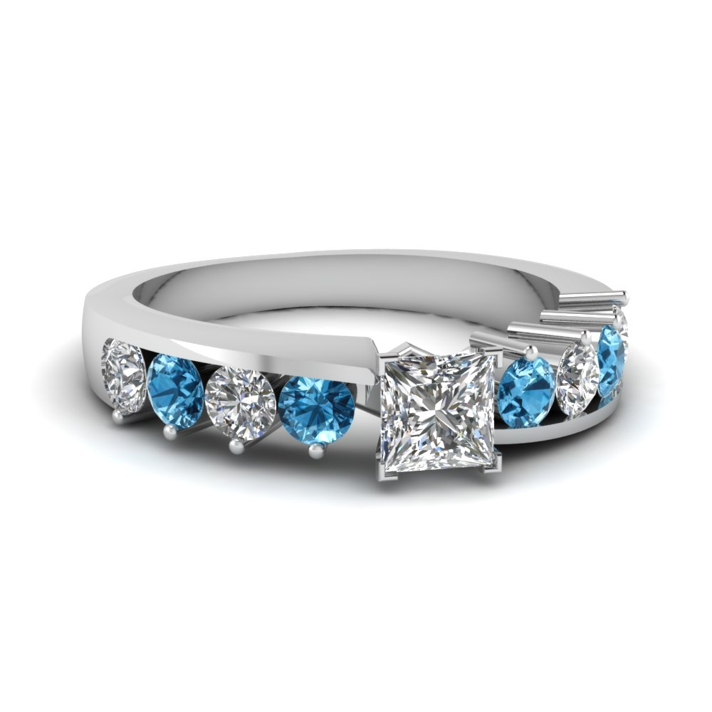 Floating Prong Princess Cut Diamond Engagement Ring With Blue Topaz In 18K White Gold