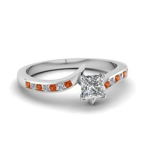 Twist Channel Princess Cut Diamond Engagement Ring With Orange Sapphire In 950 Platinum